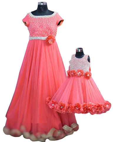 Peach Color  Mother Daughter Gown