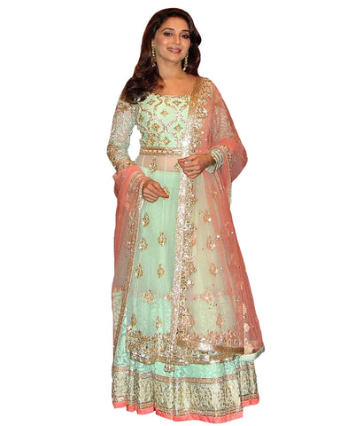 Madhuri Sky Blue & Peach Color Lehenga