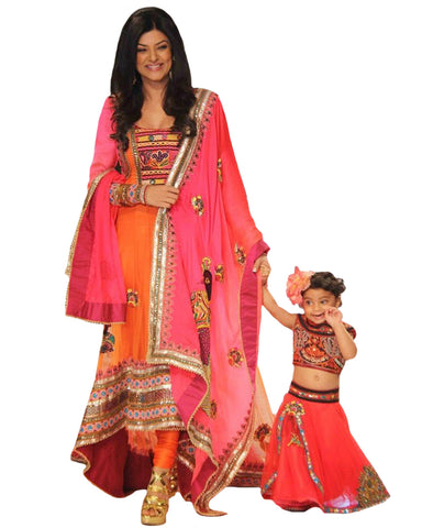 Pink & Organge color Bollywood Mother Daughter Gown