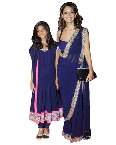 Navy Blue Color Bollywood Mother Daughter Dress