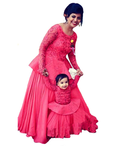 Red Color Mother Daughter Gown