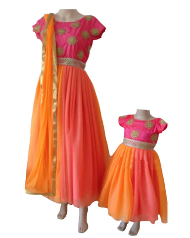 Pink & Light Organge Color Mother Daughter Gown