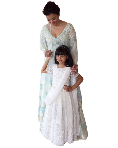Bollywood White Color Mother Daughter Heavy Anarkali Gown