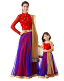 Red & Royal Blue Designer Mother Daughter Lehenga