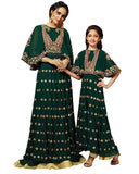 Olive Color Mother Daughter Gown