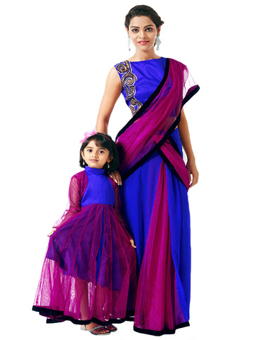 Royal Blue & Pink Mother Daugther Lehenga