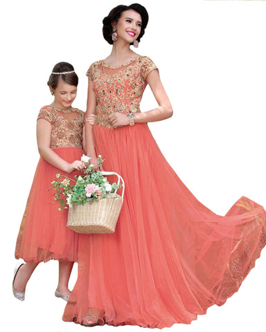 Peach Color Mother Daughter Gold emboridery Gown