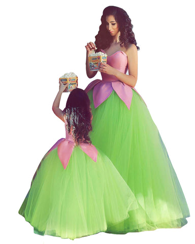 Pink & Green Color Mother Daughter Gown
