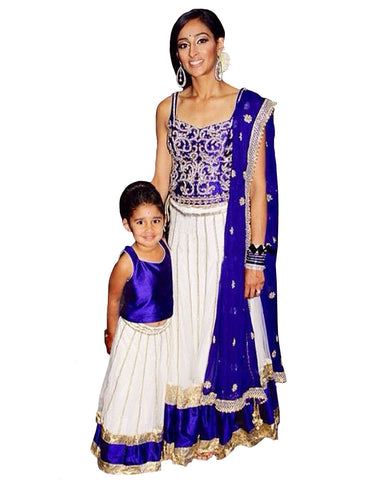 Royal Blue & White Designer Lehenga