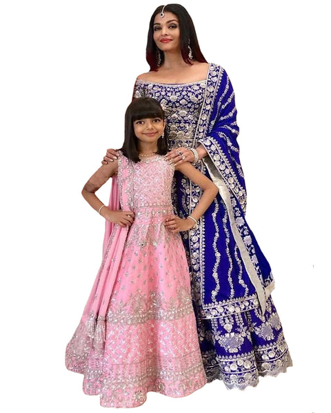 Royal Blue And Pink Color Bollywood Mother Daughter Suit