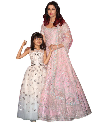 Peach And Cream Color Bollywood Mother Daughter Suit