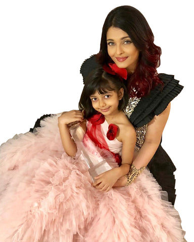 Black And Pink Color Bollywood Mother Daughter Suit