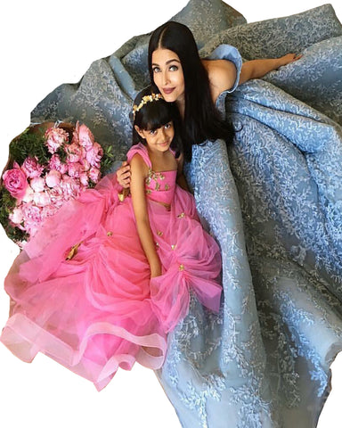 Grey And Pink Color Bollywood Mother Daughter Suit