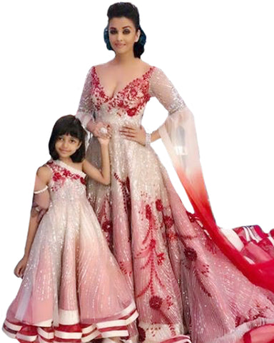 Maroon And Cream Color Bollywood Mother Daughter Suit