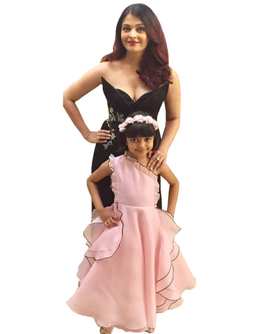 Black And Light Pink Color Bollywood Mother Daughter Suit