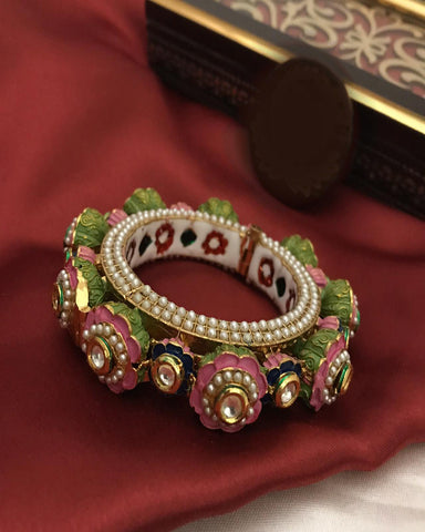 Golden and Multi Pearl Stones Bangle