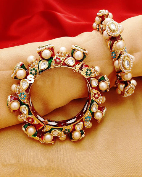 Gold And Multi Color Crystal Stones Bangle