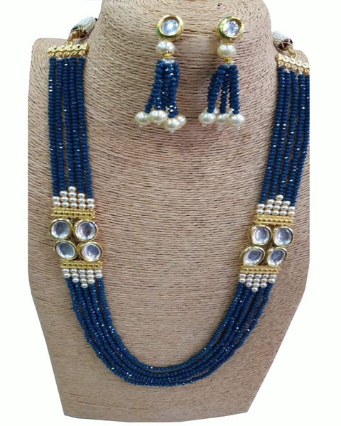 Blue Stone set with Golden Pearls of Earings