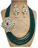 Dark Green Stone set with Golden Pearls of Earings