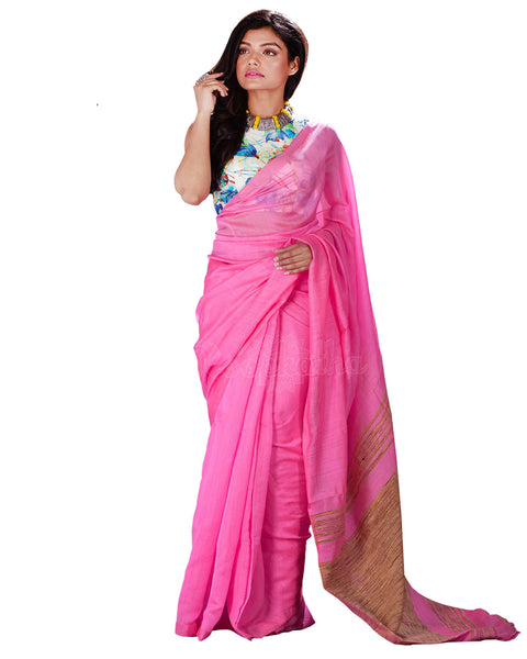 Baby Pink Blended Cotton Saree