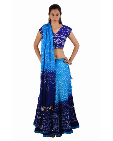 Black/Blue Bandhej Chania Choli