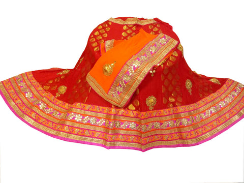 Red & Orange Color Banarsi Buti Gota Patti Lehenga