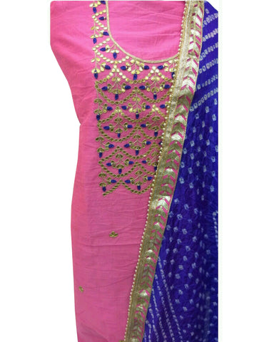 Pink Color Chanderi Gota Patti Suit