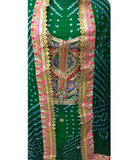 Olive Color Art Silk Bandhej Gota Patti Suits
