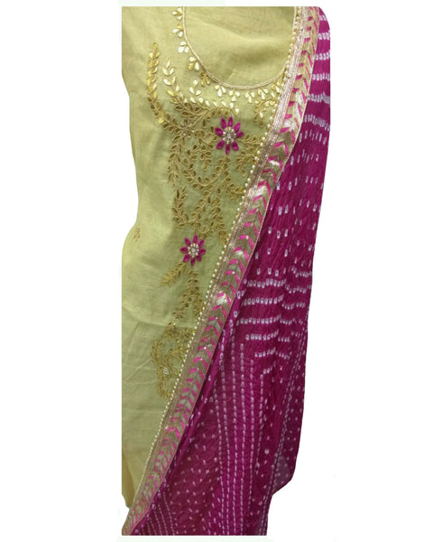 Cream & Pink Color Chanderi Gota Patti Suit