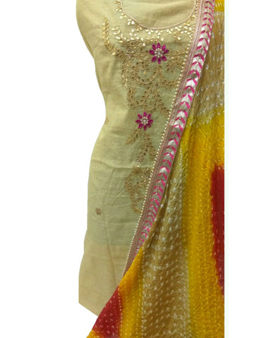Cream Color Chanderi Gota Patti Suit
