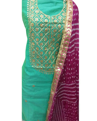 Sea Green Color Chanderi Gota Patti Suit