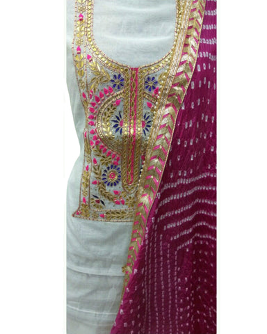 White Color Chanderi Gota Patti Suit