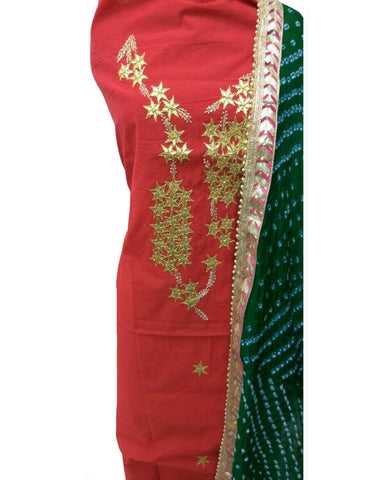 Red Color Chanderi Gota Patti Suit