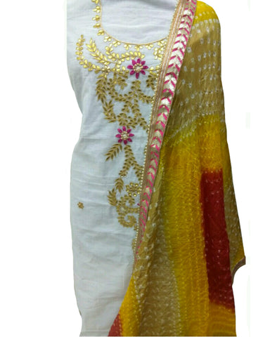White & Yellow Color Chanderi Gota Patti Suit