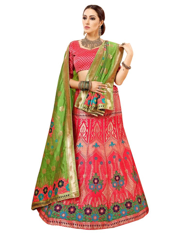 Pink Colored Festive Wear Woven Banarasi Silk Jacquard Lehenga Choli