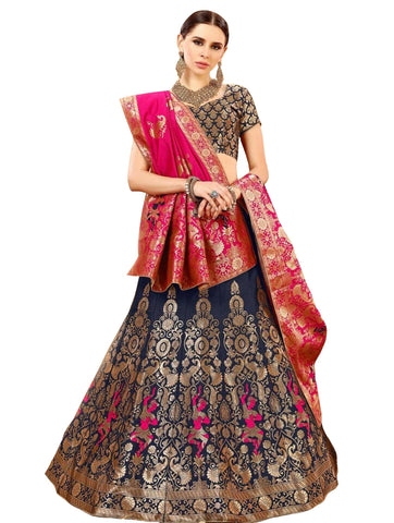 Navy Blue Colored Festive Wear Woven Banarasi Silk Jacquard Lehenga Choli
