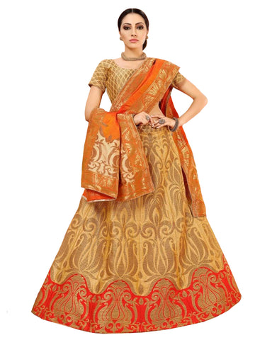 Eye-Catching Beige Colored Festive Wear Woven Banarasi Silk Jacquard Lehenga Choli