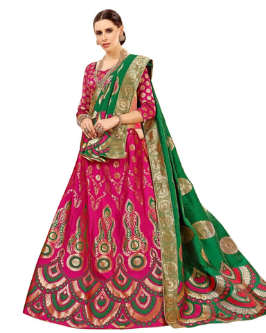 Petty Pink Colored Festive Wear Woven Banarasi Silk Jacquard Lehenga Choli