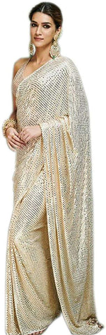 Cream Color Heavy Georgette Embroidery Sequence Work Saree
