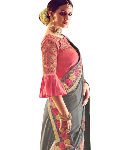 Desirable Grey And Pink Colored Designer Embroidered Work Party Wear Satin Chino Saree