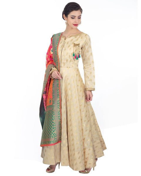 Cream Chanderi Jacquard Party Wear Gown Style Anarkali Multi Color Dupatta Dress