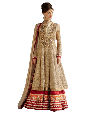 Exclusive Designer Golden Colour Net Fabric Anarkali Dress
