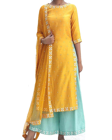 Yellow & Sky Blue Color Gota Patti Palazzo Suit