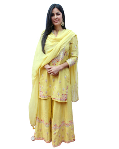 Katrina Kaif In Yellow Color Palazzo Suit