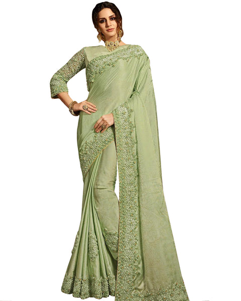 Desirable Pista Colored Designer Embroidered Work Party Wear Satin Chino Saree