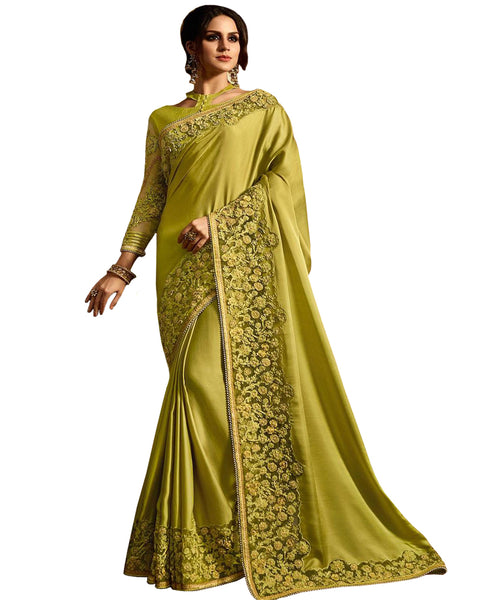 Desirable Light Green Colored Designer Embroidered Work Party Wear Satin Chino Saree