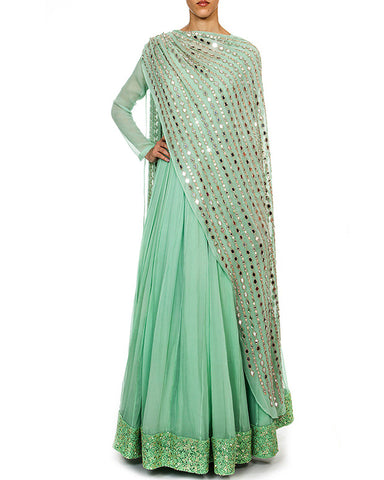Pista Color Anarkali Dress