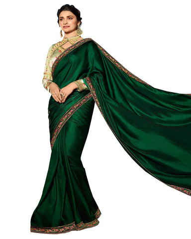 Dark Green Color Designer Embroidered Work Party Wear Satin Chino Saree