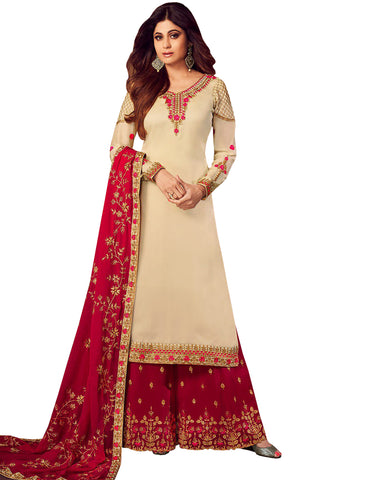 Ideal Maroon and cream Colored Partywear Embroidered Georgette Palazzo Suit