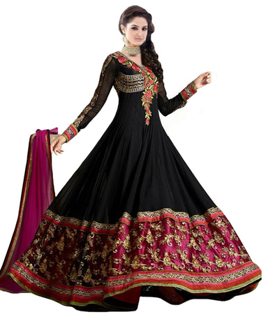 Black And Pink Anarkali Heavy Georgette Gown